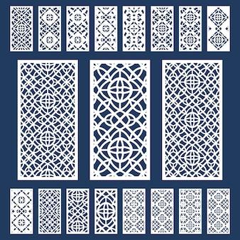 Zierplatten gesetzt. geometrisches muster der silhouette. lasergeschnittene laubsägearbeit perforierte platte im arabischen stil.