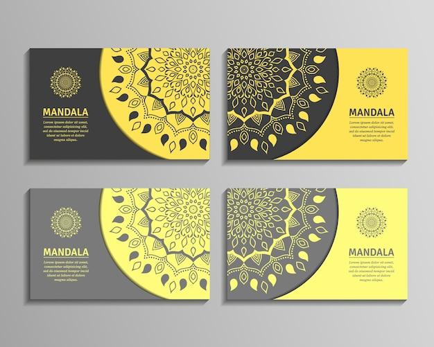 Zierschablone für visitenkarte, flieger oder fahne mit rundem mandala. ziermandala. stilvolles geometrisches muster im orientalischen stil.