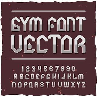 Ziffern und buchstaben der gym-schriftelemente mit textetikettenillustration