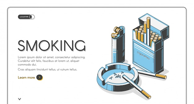 Zigaretten in packung mit aschenbecher und feuerzeug