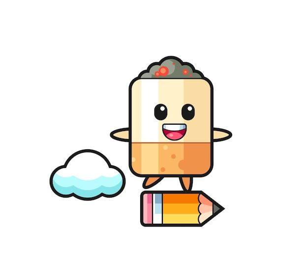 Zigaretten-maskottchen-illustration, die auf einem riesigen bleistift reitet, süßes design
