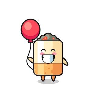 Zigaretten-maskottchen-illustration spielt ballon, süßes design