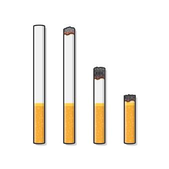 Zigaretten während verschiedener stadien der verbrennungssymbolillustration