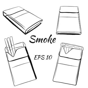 Zigarettenpackungen im sketch-stil.