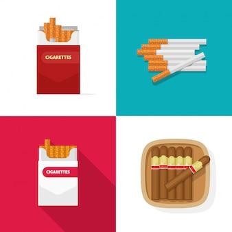 Zigarettenschachtel mit zigaretten und kubanischen luxuszigarren