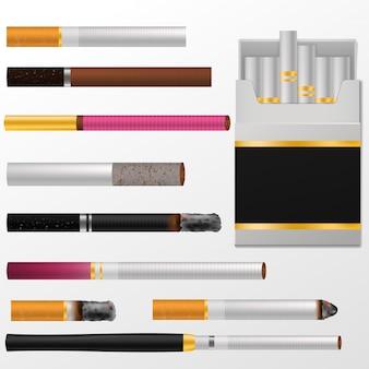 Zigarettenvektorzigarre mit nikotin in zigarettenschachtel oder zigarrenetui und rauchender tabakillustration