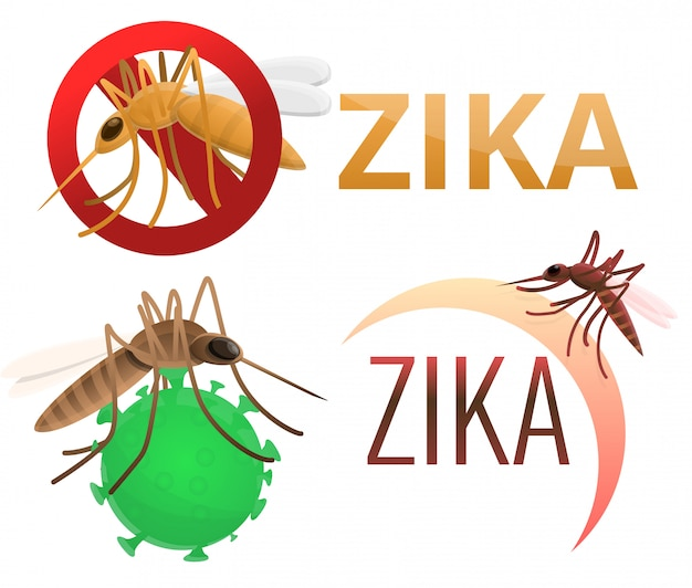 Zika-virus gesetzt. karikatursatz des zika virus