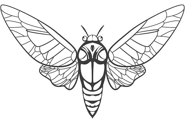 Zikaden-tätowierungsillustration lokalisiert auf einem weißen hintergrund.
