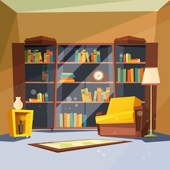 Zimmer mit büchern. hauswohnung mit regalen der hauptbibliothek innerhalb des wohnzimmers zum lesen des bildes