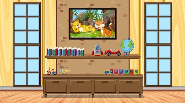 Zimmer mit holzmöbeln und spielzeug