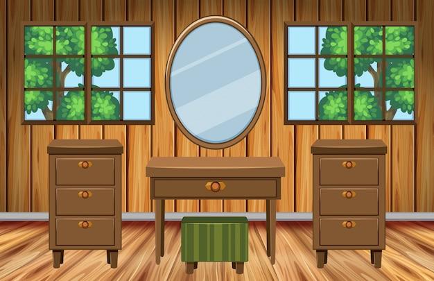 Zimmer mit holzmöbeln