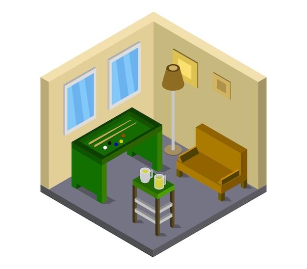 Zimmer mit isometrischem billardtisch