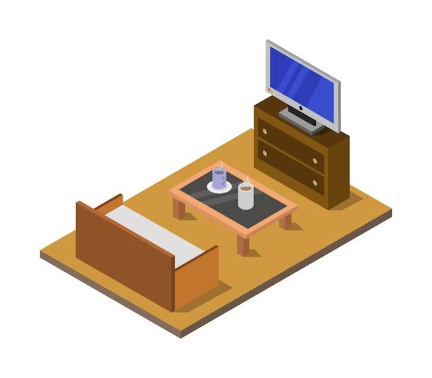 Zimmer mit isometrischem fernseher
