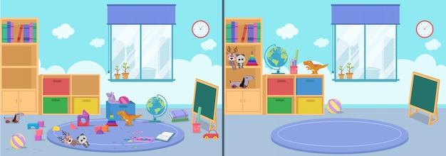 Zimmer sauber und dreckig