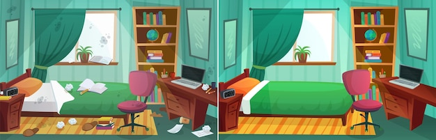 Zimmer vor und nach der reinigung. vergleich von unordentlichem schlafzimmer und sauberem kinderzimmer. inneneinrichtung nach dem aufräumen. schmutziges fenster, bett, papier im zimmer. tisch- und bücherregalvektorillustration