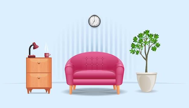 Zimmereinrichtung. nachttisch mit einer tischlampe und einer tasse kaffee, einem sofa, einer wanduhr und einer kanne mit einem topfbaum. vektor-illustration