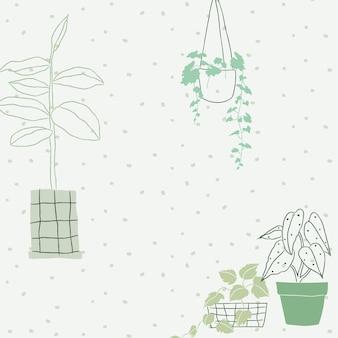 Zimmerpflanze doodle hintergrundvektor mit leerzeichen blank