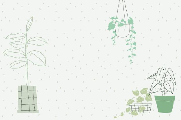 Zimmerpflanze doodle hintergrundvektor mit leerzeichen