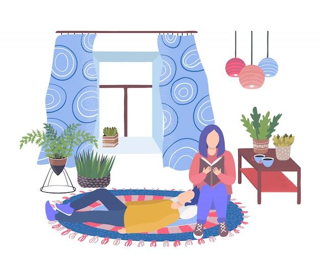 Zimmerpflanzen in wohnzimmer und paar mann ruhen und frau lesen buch isoliert auf weiße hausgarten flache illustration.