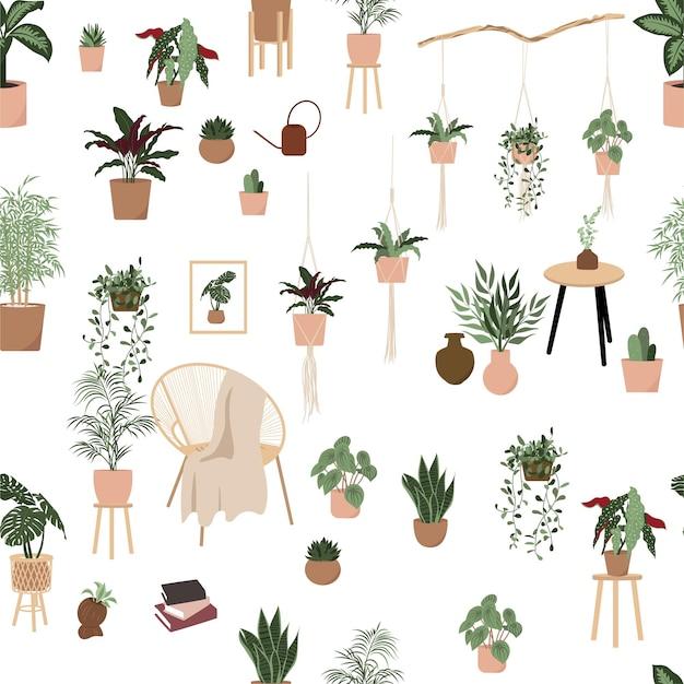 Zimmerpflanzen nahtloses muster