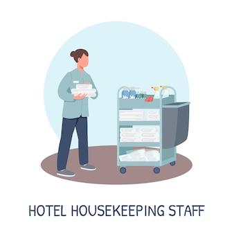 Zimmerservice social media post-modell. hotel housekeeping personal satz. web-banner-design-vorlage. resort-reinigungs-booster, inhaltslayout mit beschriftung. plakat, printwerbung und flache illustration