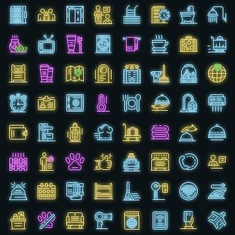 Zimmerservice-symbole gesetzt. umrisse von zimmerservice-vektorsymbolen neonfarbe auf schwarz