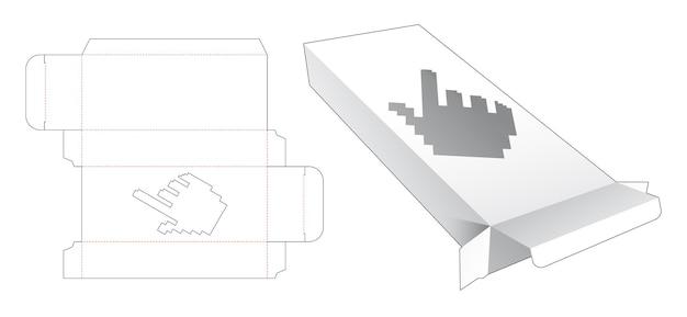 Zinn und lange schachtel mit cursor-förmigem fenster in gestanzter vorlage im pixel-art-stil
