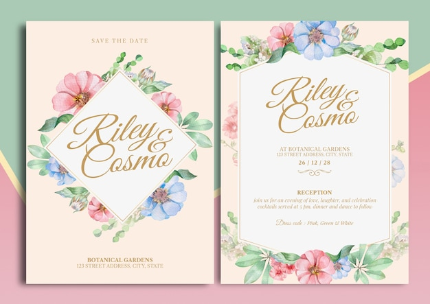 Zinnia blumen aquarell illustration hochzeit einladungskarte mit text layout