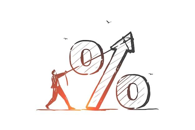 Zinssatz, wirtschaftlichkeit, bankkreditprozentsatzkonzeptskizzenillustration