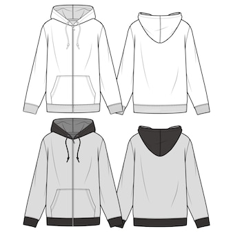 Zip-up hoodie mode flache skizze vorlage