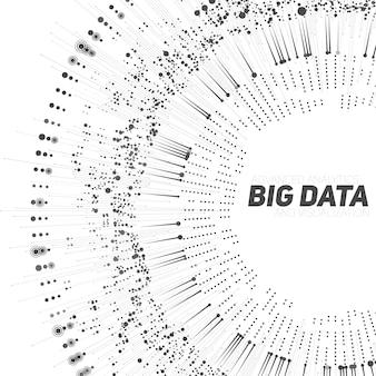 Zirkuläre graustufenvisualisierung mit großen datenmengen. futuristische infografik. informationsästhetisches design. komplexität visueller daten. grafische visualisierung komplexer datenthreads. soziales netzwerk. abstrakter datengraph