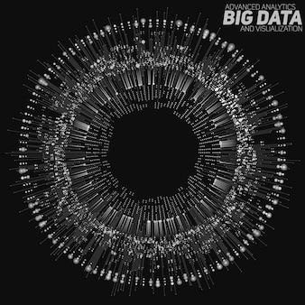 Zirkuläre graustufenvisualisierung mit großen datenmengen. informationsästhetisches design. komplexität visueller daten. grafische visualisierung komplexer datenthreads.