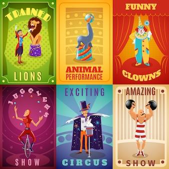 Zirkus 6 flach banner zusammensetzung poster