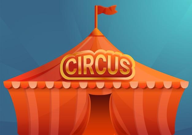 Zirkus auf blauer hintergrundkonzeptfahne, karikaturart