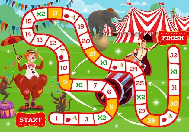 Zirkus-brettspiel, shapito-charaktere in der nähe des zirkuszeltes