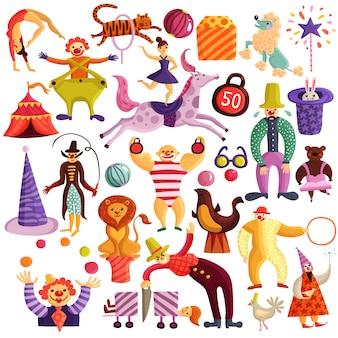 Zirkus-dekorative icons set