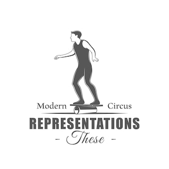 Zirkus-etikett isoliert auf weißem hintergrund