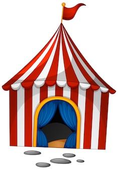 Zirkus im karikaturstil auf weißem hintergrund Kostenlosen Vektoren