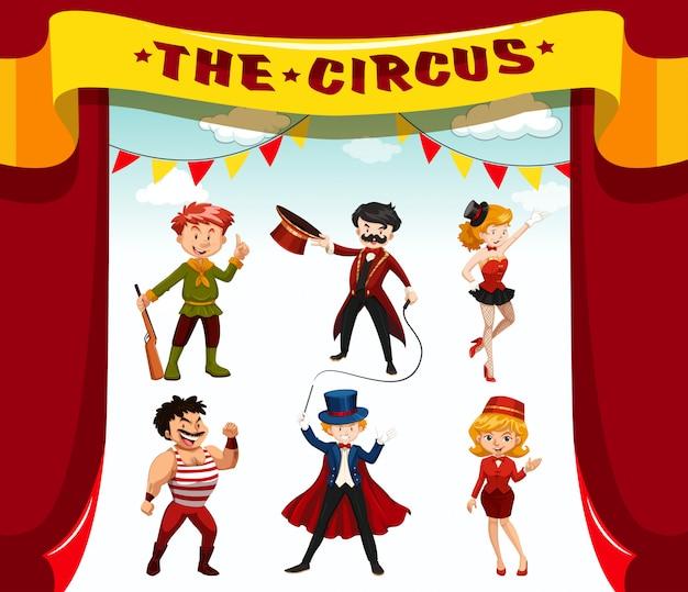 Zirkus, jahrmarkt, themenfiguren des vergnügungsparks