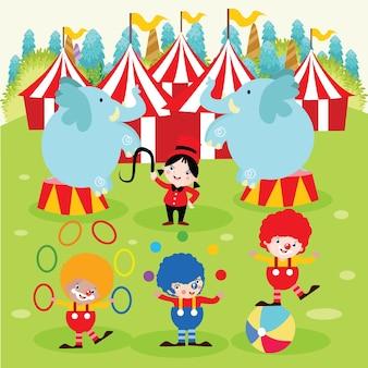 Zirkus-karikatur-illustration