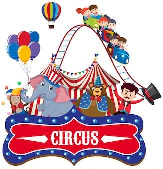 Zirkus mit ringmeister und tieren