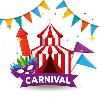 Zirkus mit traditioneller festivalmaske und partyfahne