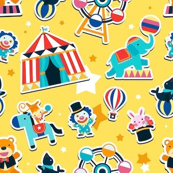 Zirkus nahtloses muster, tiere und unterhaltungselemente