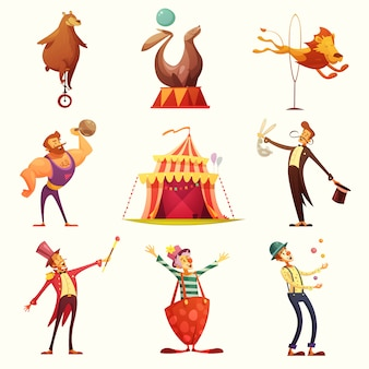 Zirkus-retro- ikonen-karikatur-satz