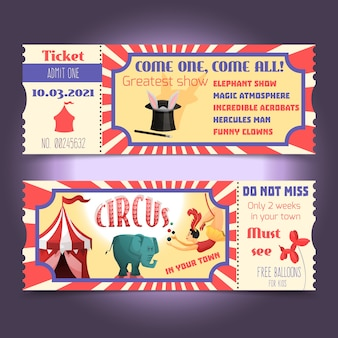 Zirkus retro-tickets