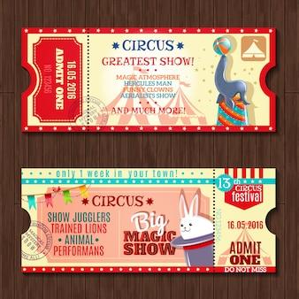 Zirkus-show zwei vintage-tickets gesetzt