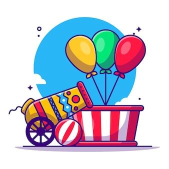 Zirkus- und festivalelement-karikaturillustration