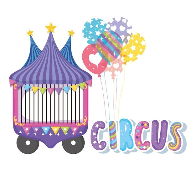 Zirkusauto mit ballonunterhaltungsereignis