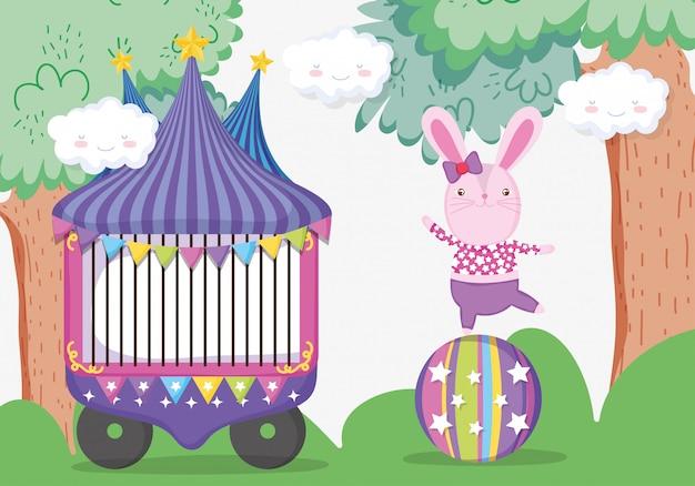 Zirkusauto und kaninchenkostüm im ball