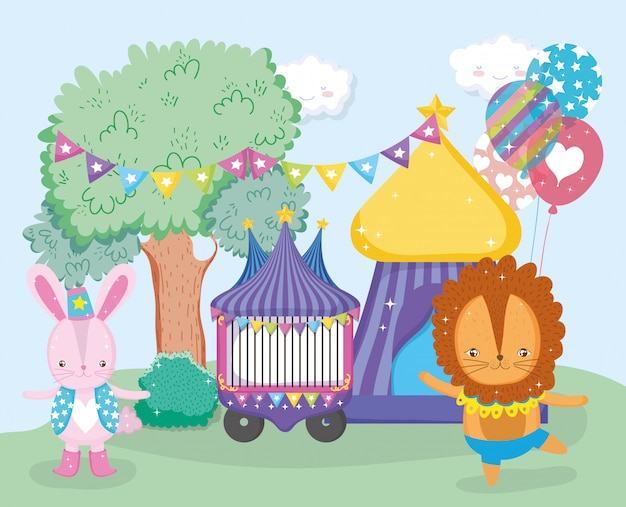 Zirkusauto und löwentier tanzen mit spitze